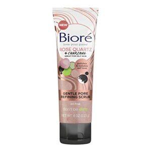 Bioré Rose Quartz + Charcoal Gentle Pore Refining Scrub, Pore Minimizing Facial Scrub, 4 Ounces, Oil Free, Dermatologist Tested, Non-Comedogenic, Cruelty Free, Vegan Friendly