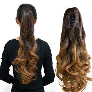 """Neverland Beauty 20""""(50cm) Natural Ombre Look Two Tone Long Big Wavy Claw Curly Ponytail Clip in Hair Extensions 6#/27#"""
