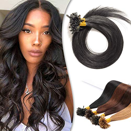 """U Tip Hair Extensions Remy Pre Bonded Fusion Hairpieces Utip 100% Human Hair U-tip Nail Tipped Keratin Glue Stick Microlink Hair Extension For Women 100 Strands 14"""" 50g #01 Dark Black"""